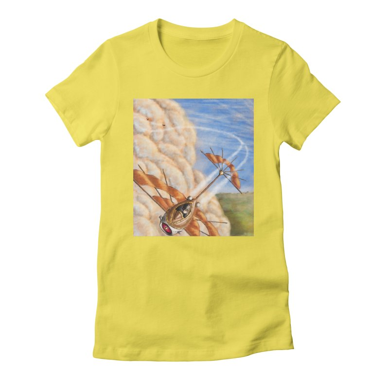 Flying through the clouds. Women's Fitted T-Shirt by Illustrator Dave's Artist Shop