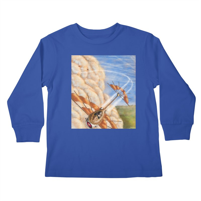 Flying through the clouds. Kids Longsleeve T-Shirt by Illustrator Dave's Artist Shop
