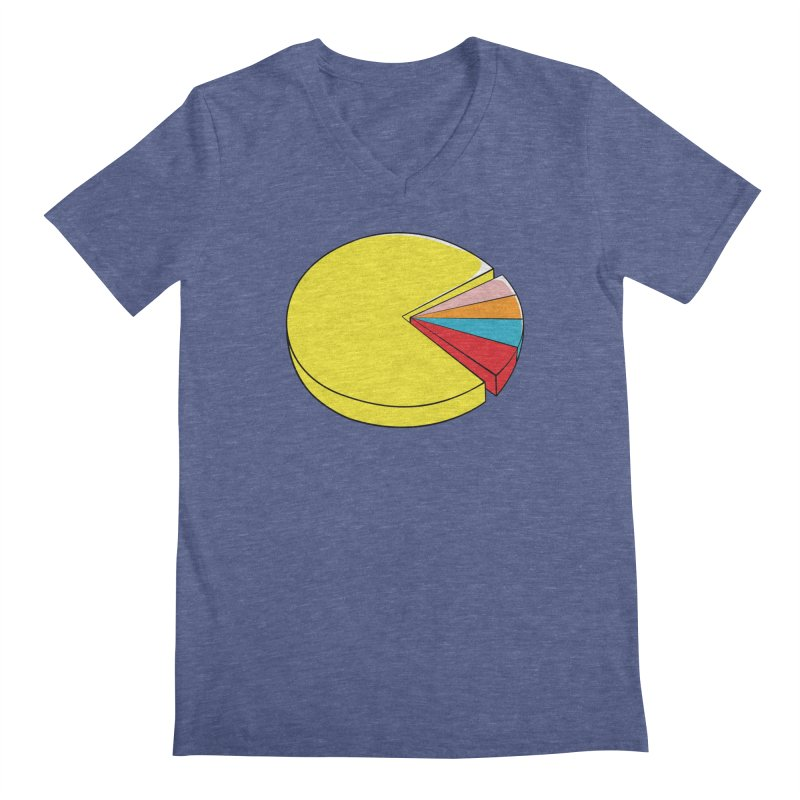 Pacman Pie Chart Men's Regular V-Neck by DavidBS