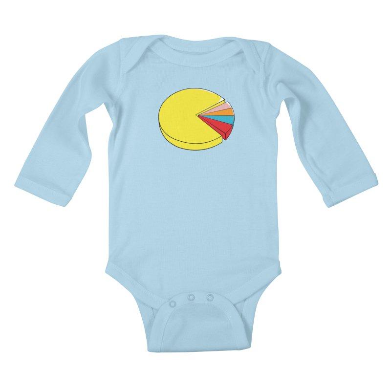 Pacman Pie Chart Kids Baby Longsleeve Bodysuit by DavidBS