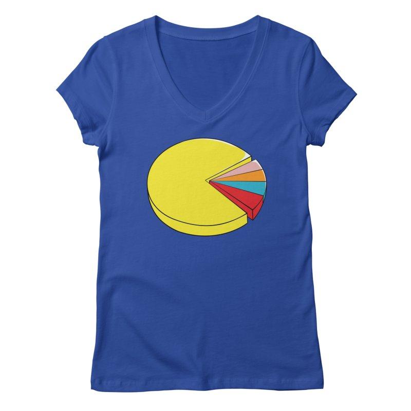 Pacman Pie Chart Women's V-Neck by DavidBS