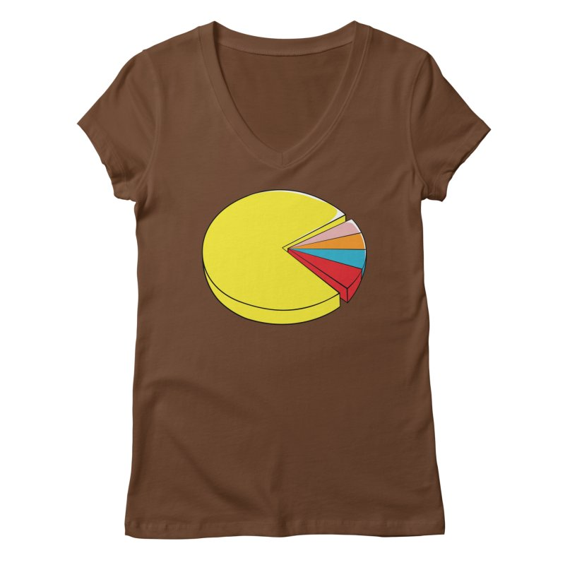 Pacman Pie Chart Women's Regular V-Neck by DavidBS