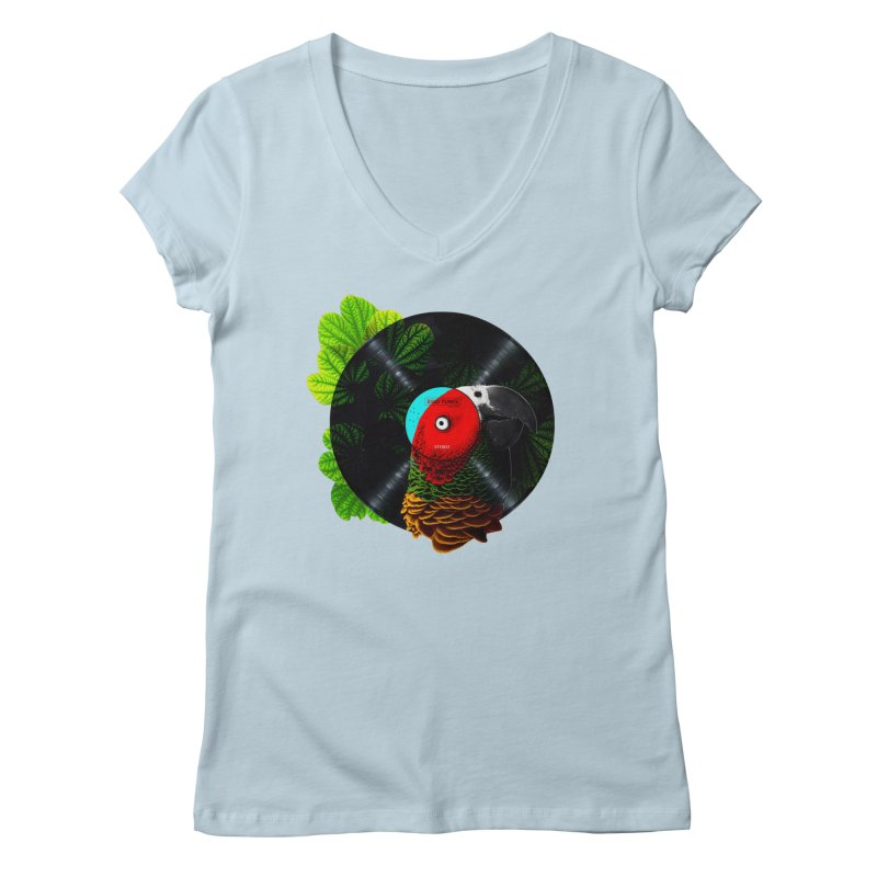 Bird Tunes Women's V-Neck by DavidBS