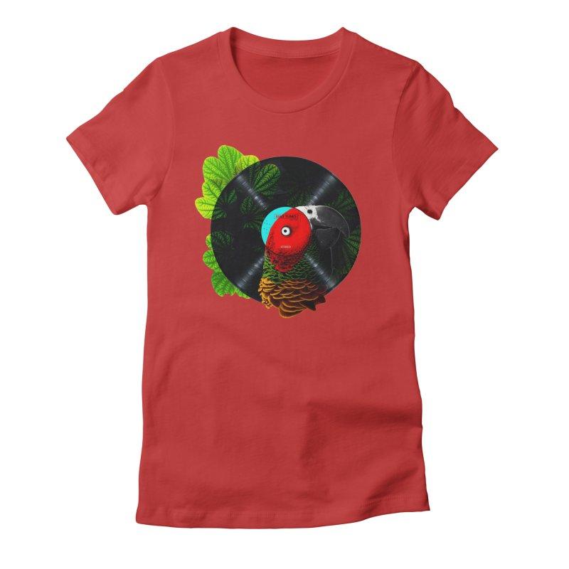 Bird Tunes Women's Fitted T-Shirt by DavidBS