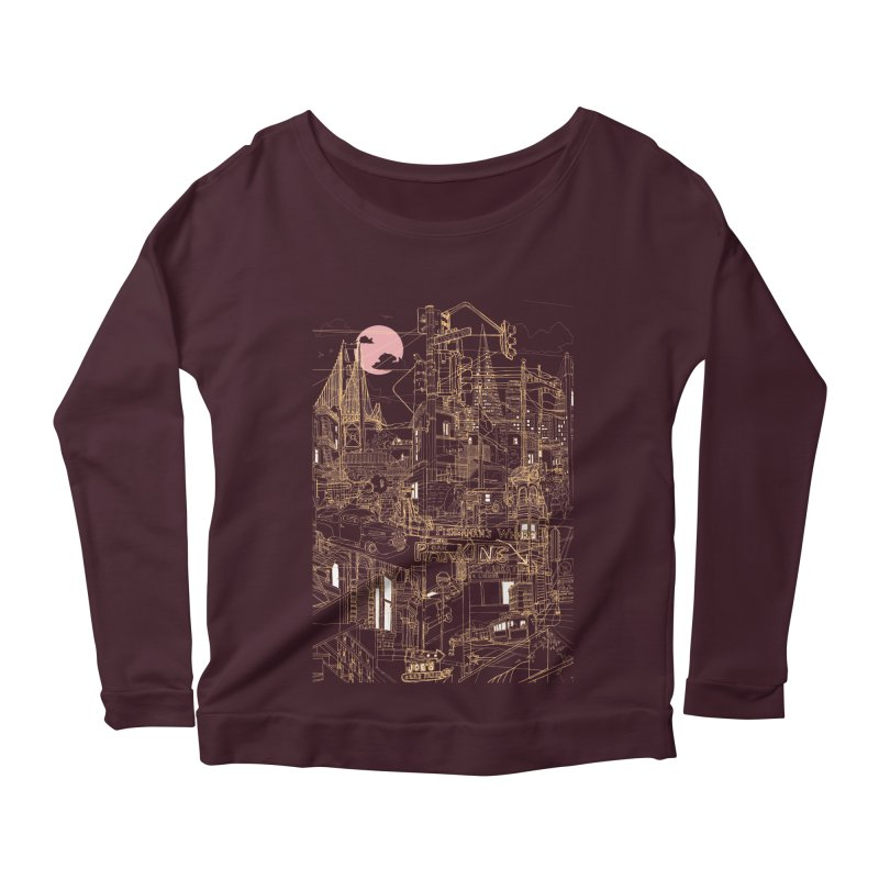 San Francisco! (Night) Women's Longsleeve Scoopneck  by David Bushell Illustration-Design Shop