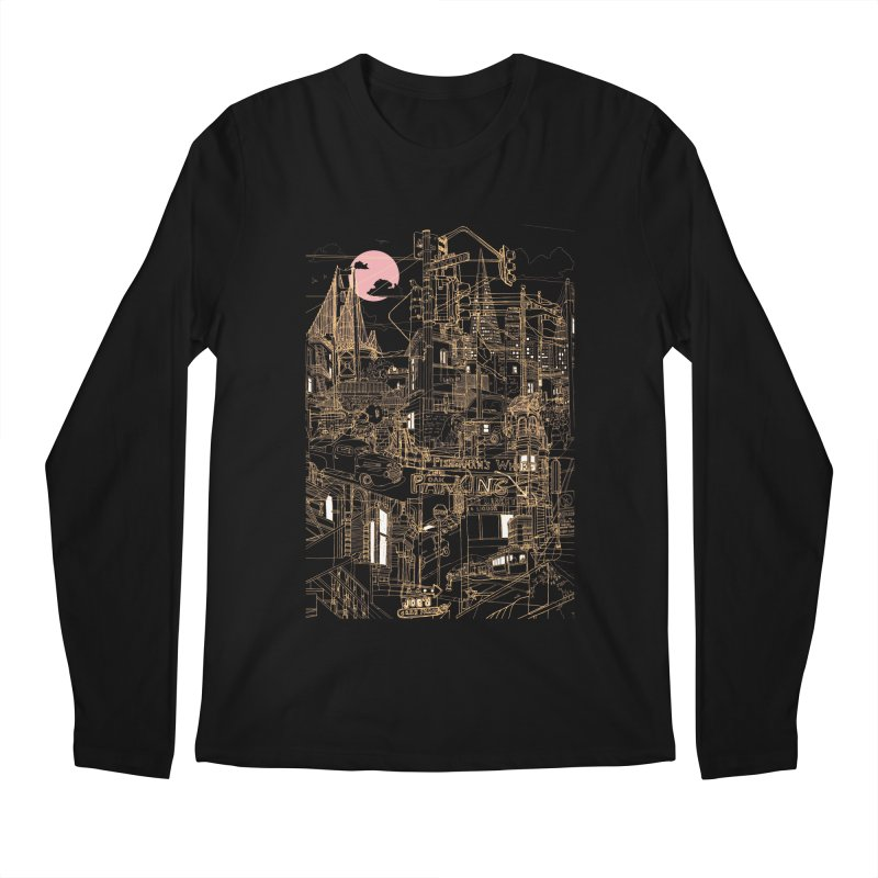San Francisco! (Night) Men's Longsleeve T-Shirt by David Bushell Illustration-Design Shop