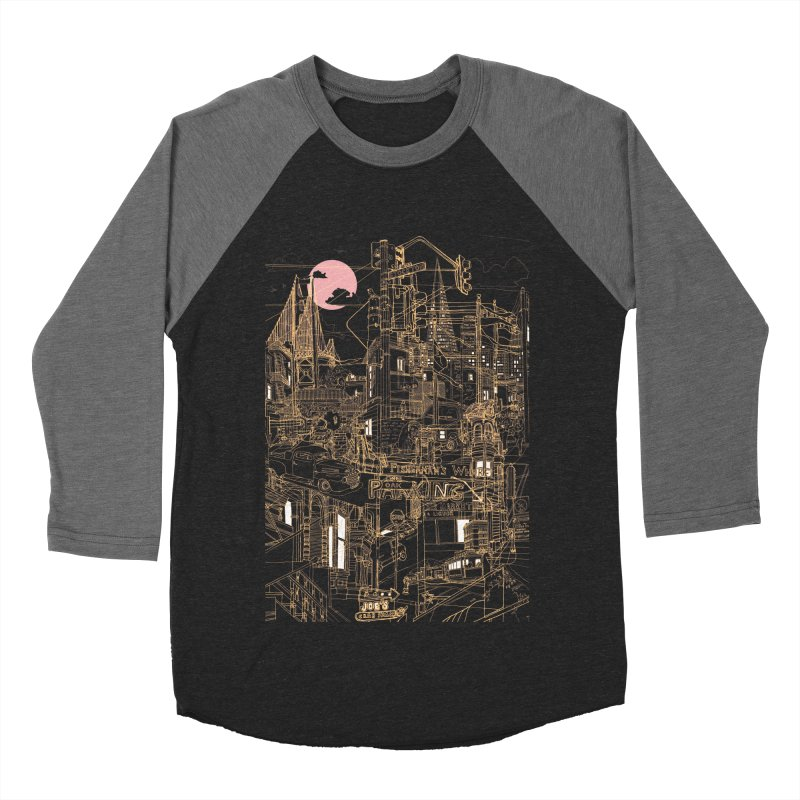 San Francisco! (Night) Men's Baseball Triblend T-Shirt by David Bushell Illustration-Design Shop