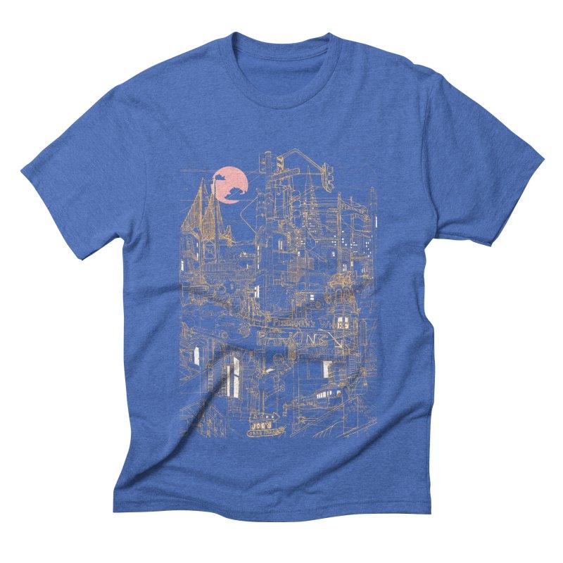 San Francisco! (Night) Men's Triblend T-shirt by David Bushell Illustration-Design Shop