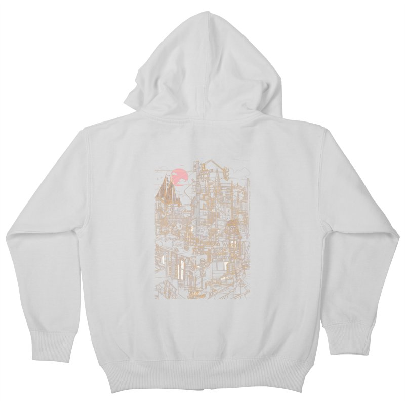 San Francisco! (Night) Kids Zip-Up Hoody by David Bushell Illustration-Design Shop
