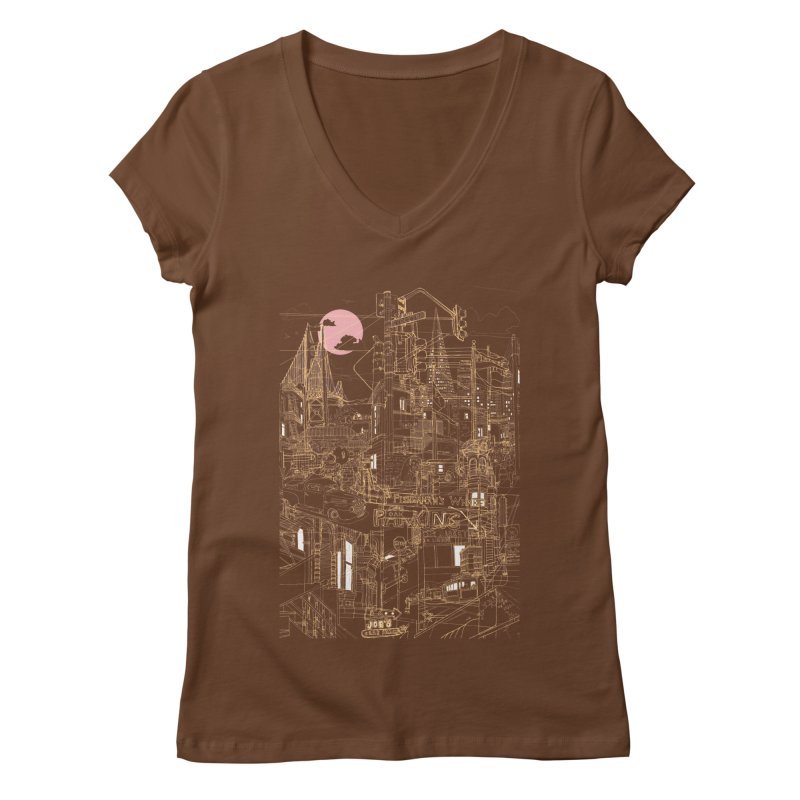 San Francisco! (Night) Women's V-Neck by David Bushell Illustration-Design Shop