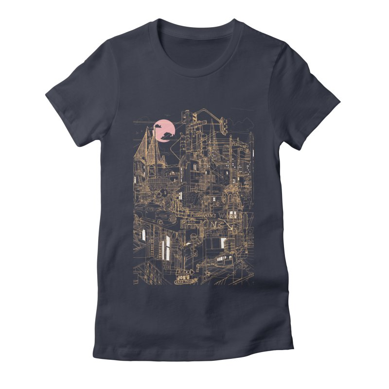 San Francisco! (Night) Women's Fitted T-Shirt by David Bushell Illustration-Design Shop