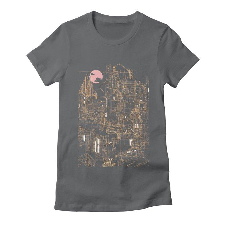 San Francisco! (Night) Women's Fitted T-Shirt by David Bushell Illustration-Design Shop