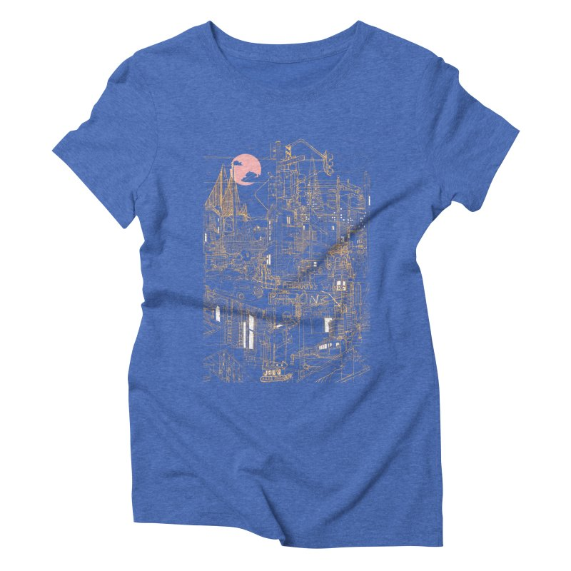 San Francisco! (Night) Women's Triblend T-shirt by David Bushell Illustration-Design Shop
