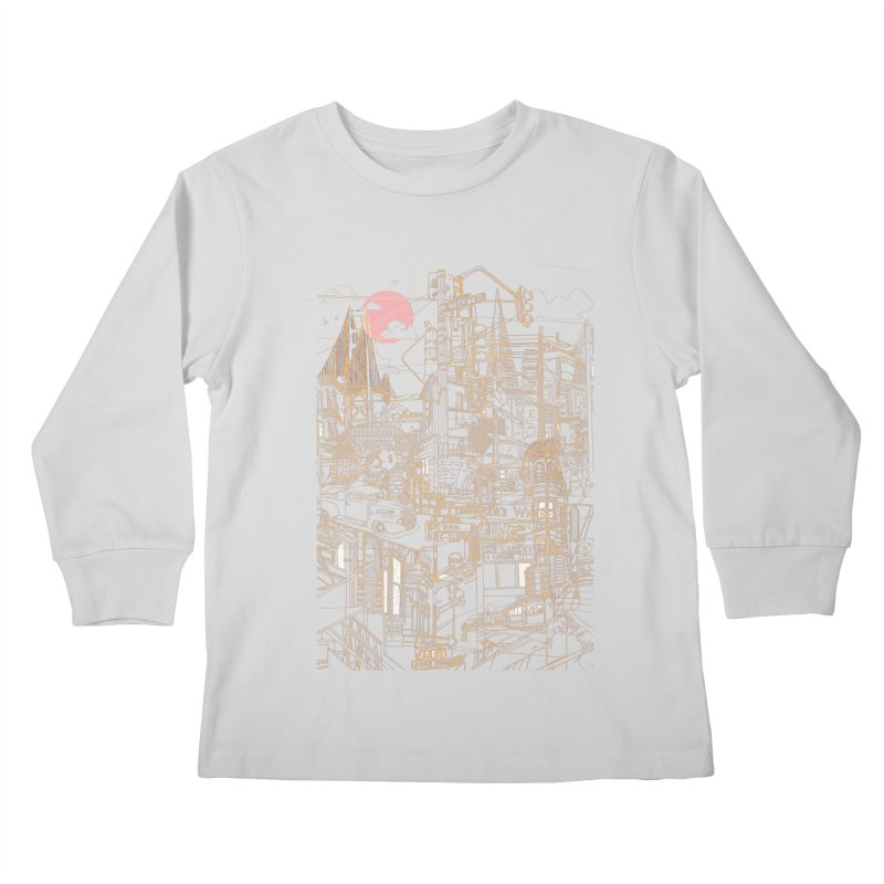 San Francisco! (Night) Kids Longsleeve T-Shirt by David Bushell Illustration-Design Shop