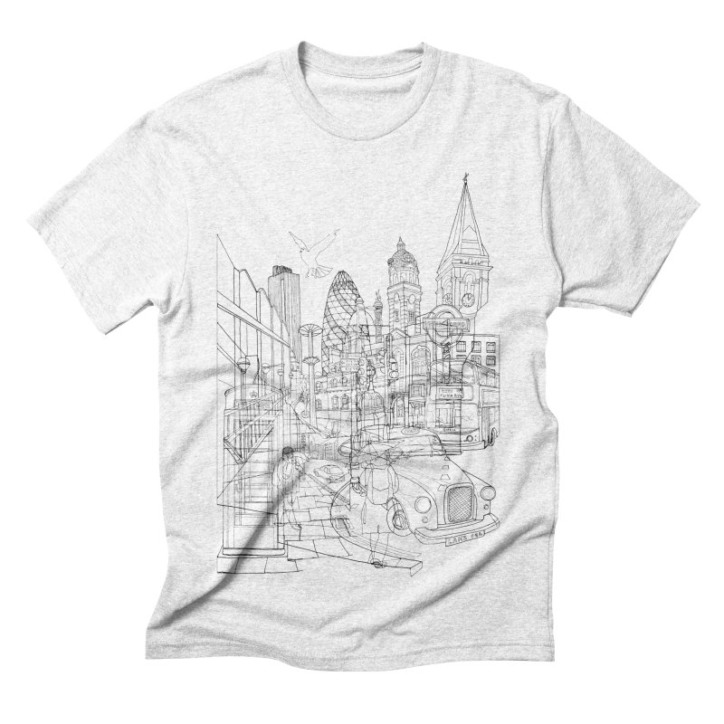 London! Men's Triblend T-shirt by David Bushell Illustration-Design Shop