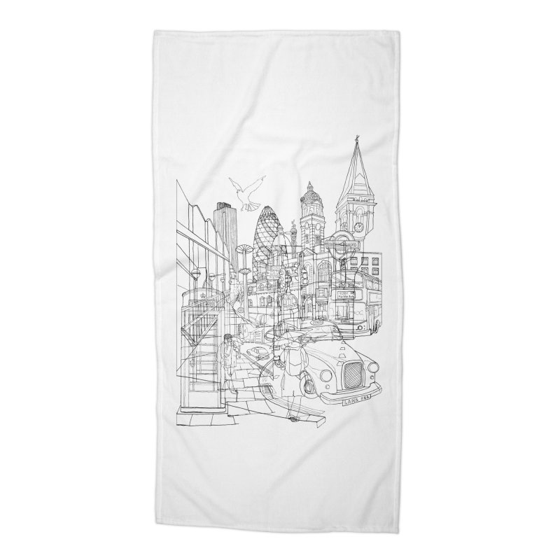 London! Accessories Beach Towel by David Bushell Illustration-Design Shop
