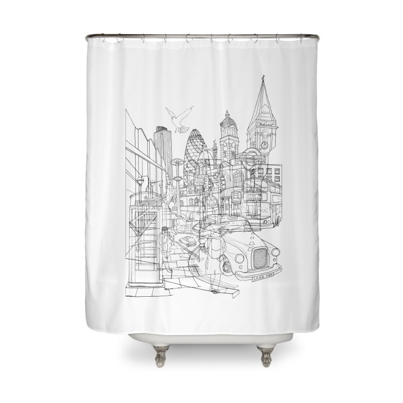 London! Home Shower Curtain by David Bushell Illustration-Design Shop
