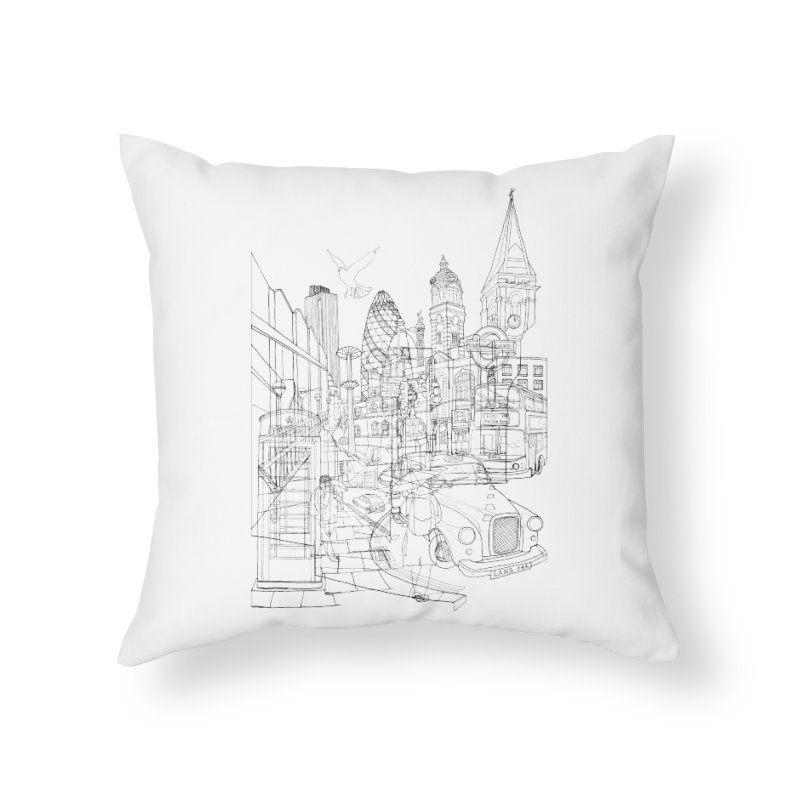 London! Home Throw Pillow by David Bushell Illustration-Design Shop