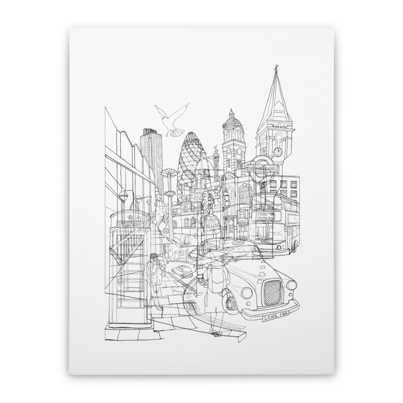 London! Home Stretched Canvas by David Bushell Illustration-Design Shop