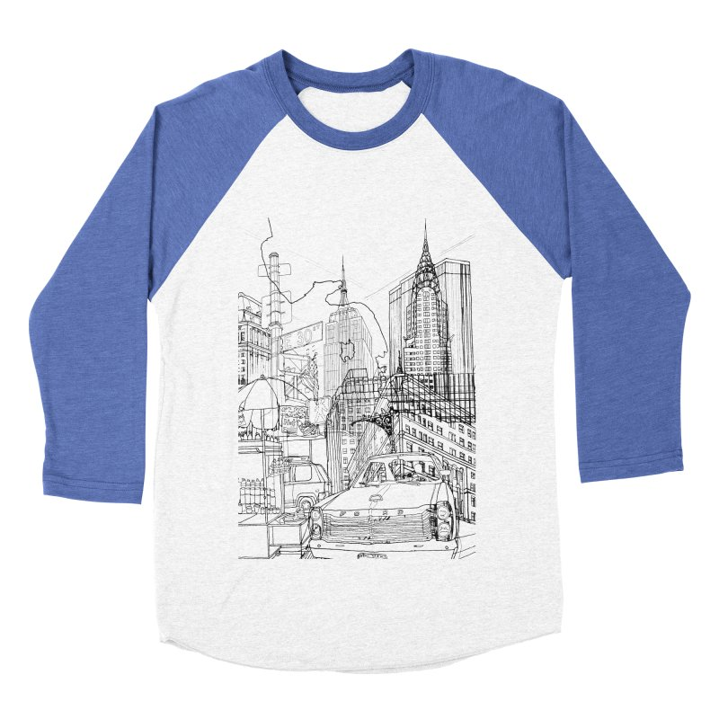 New York! Men's Baseball Triblend T-Shirt by David Bushell Illustration-Design Shop