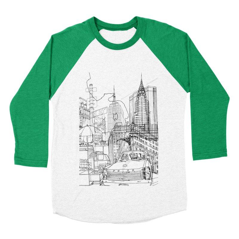 New York! Men's Baseball Triblend T-Shirt by David Bushell Illustration-Design Shop