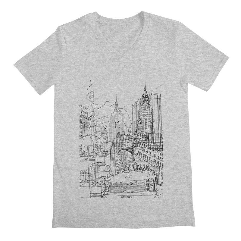 New York! Men's V-Neck by David Bushell Illustration-Design Shop
