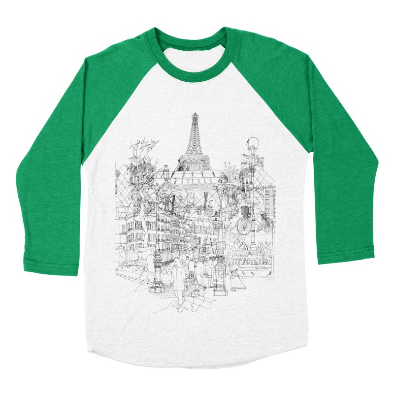 Paris! Women's Baseball Triblend T-Shirt by David Bushell Illustration-Design Shop