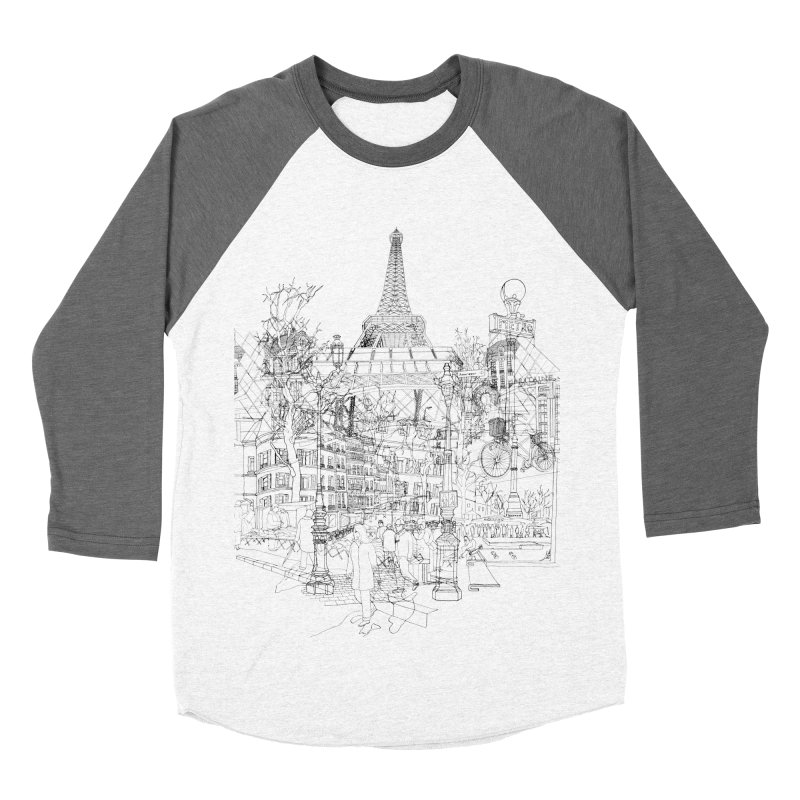 Paris! Men's Baseball Triblend T-Shirt by David Bushell Illustration-Design Shop