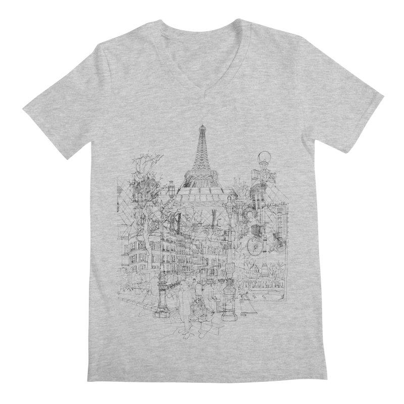 Paris! Men's V-Neck by David Bushell Illustration-Design Shop