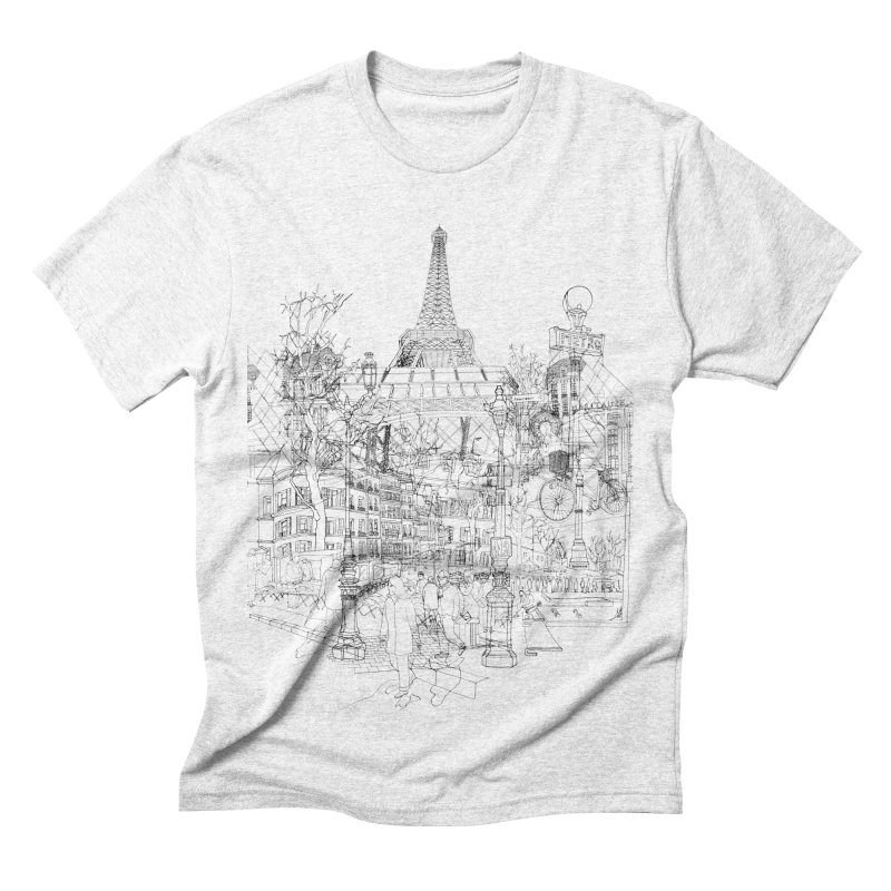 Paris! Men's Triblend T-shirt by David Bushell Illustration-Design Shop