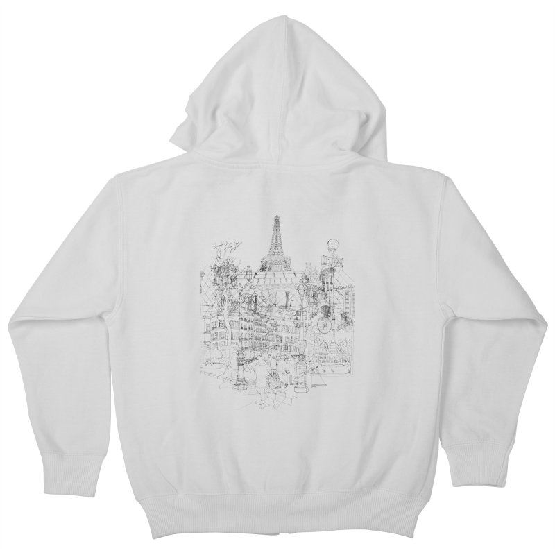 Paris! Kids Zip-Up Hoody by David Bushell Illustration-Design Shop