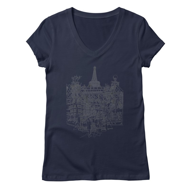 Paris! Women's V-Neck by David Bushell Illustration-Design Shop