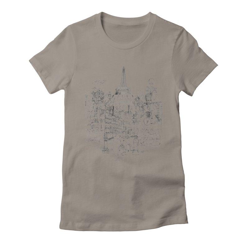 Paris! Women's Fitted T-Shirt by David Bushell Illustration-Design Shop