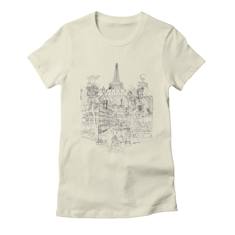 Paris! Women's Fitted T-Shirt by David Bushell Illustration-Design Shop