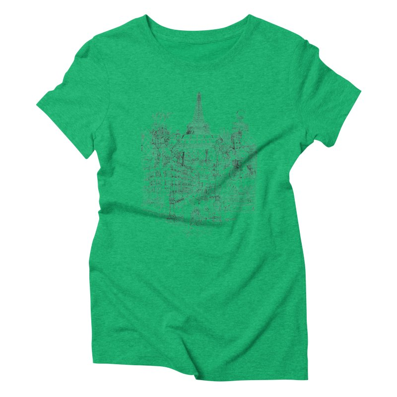 Paris! Women's Triblend T-shirt by David Bushell Illustration-Design Shop