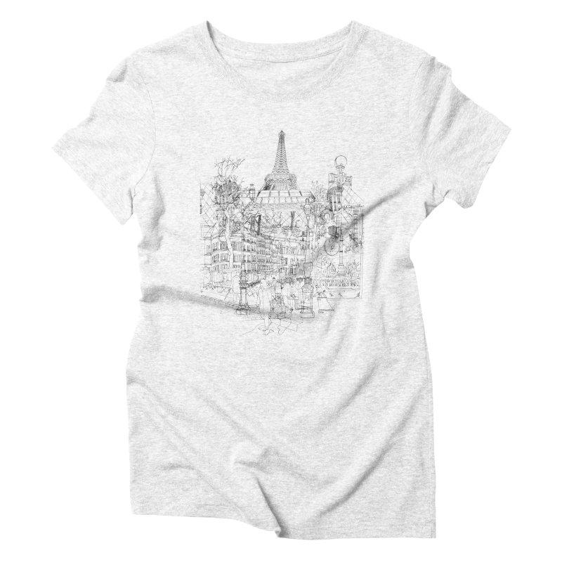 Paris! Women's Triblend T-shirt by David Bushell Illustration-Design Shop