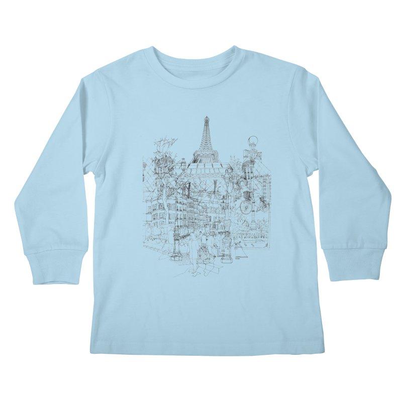 Paris! Kids Longsleeve T-Shirt by David Bushell Illustration-Design Shop
