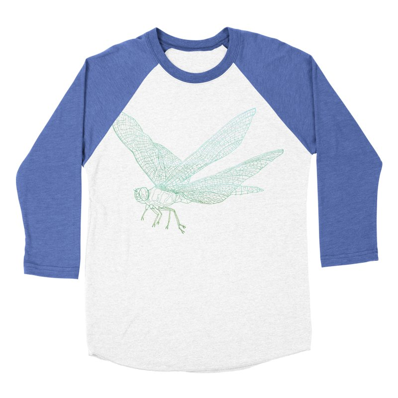 Dragonfly Men's Baseball Triblend T-Shirt by David Bushell Illustration-Design Shop