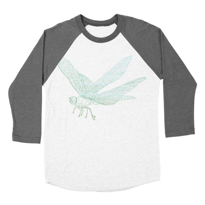 Dragonfly Men's Baseball Triblend T-Shirt by David Bushell Illustration-Design Shop