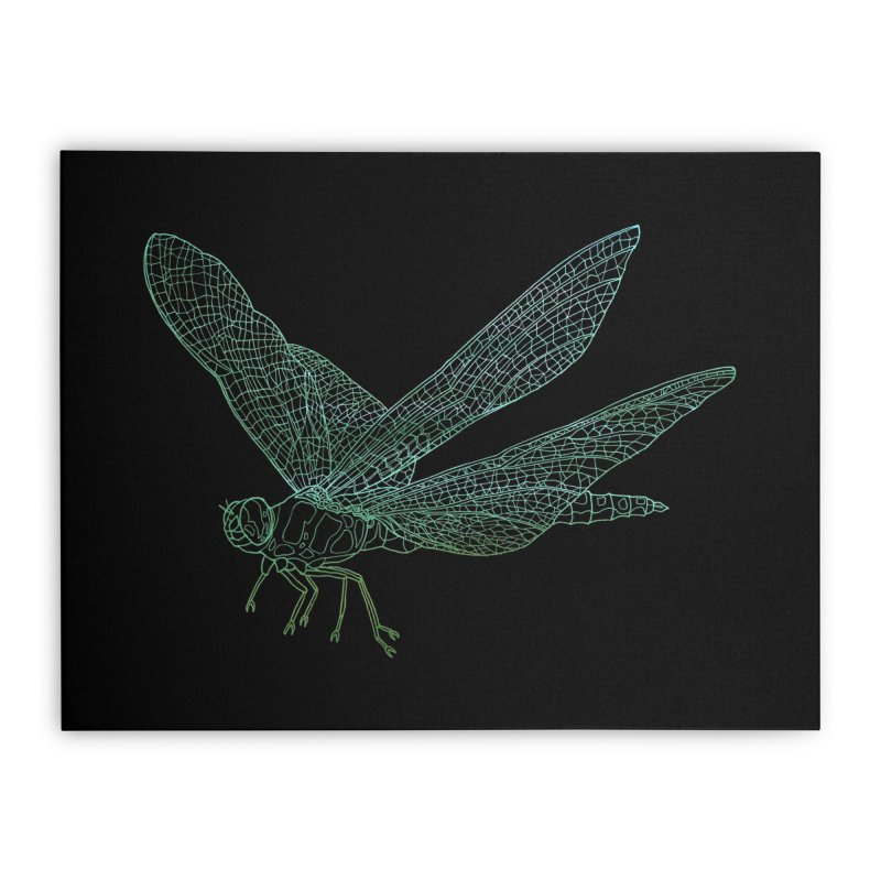 Dragonfly Home Stretched Canvas by David Bushell Illustration-Design Shop