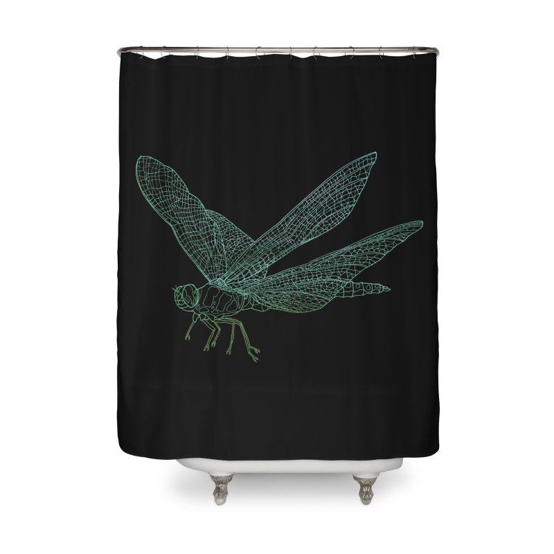 Dragonfly Home Shower Curtain by David Bushell Illustration-Design Shop