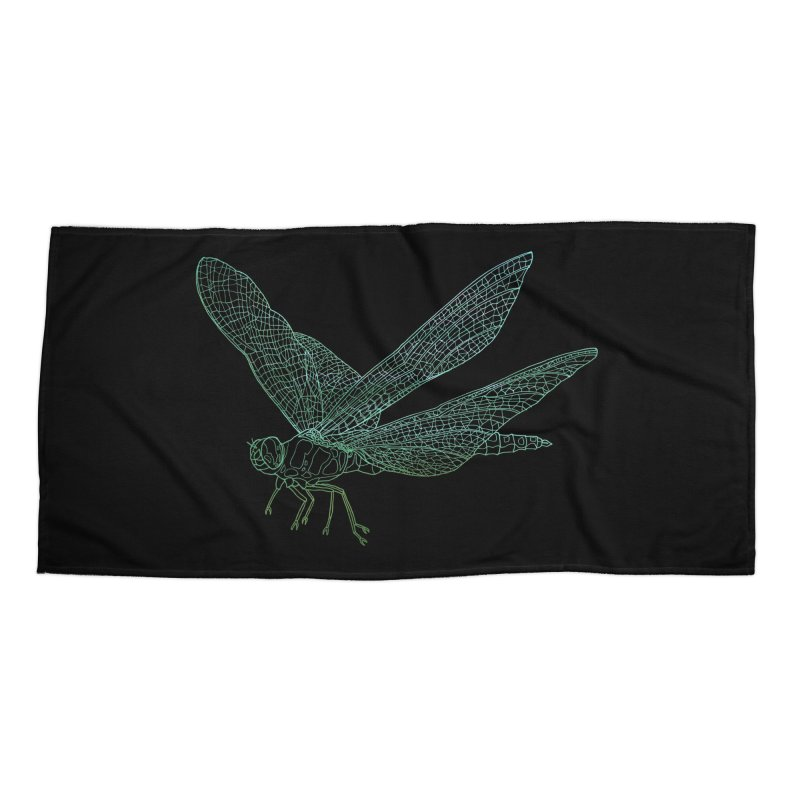 Dragonfly Accessories Beach Towel by David Bushell Illustration-Design Shop