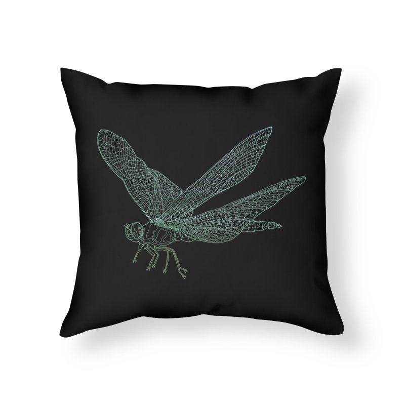 Dragonfly Home Throw Pillow by David Bushell Illustration-Design Shop