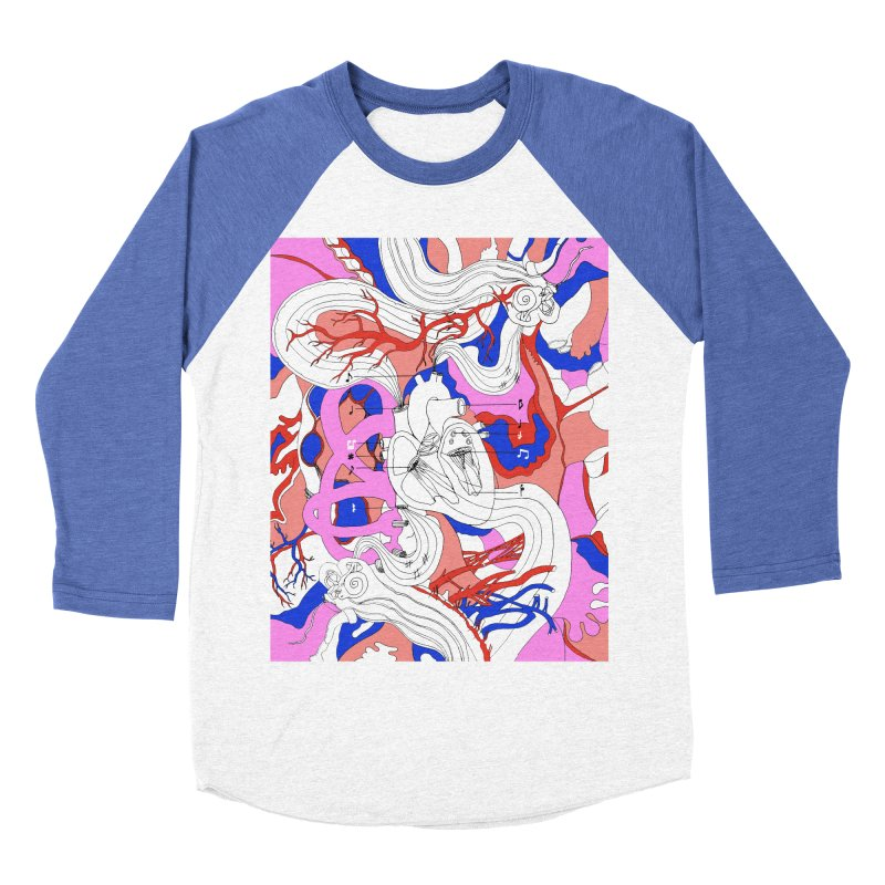 Heart Men's Baseball Triblend T-Shirt by David Bushell Illustration-Design Shop