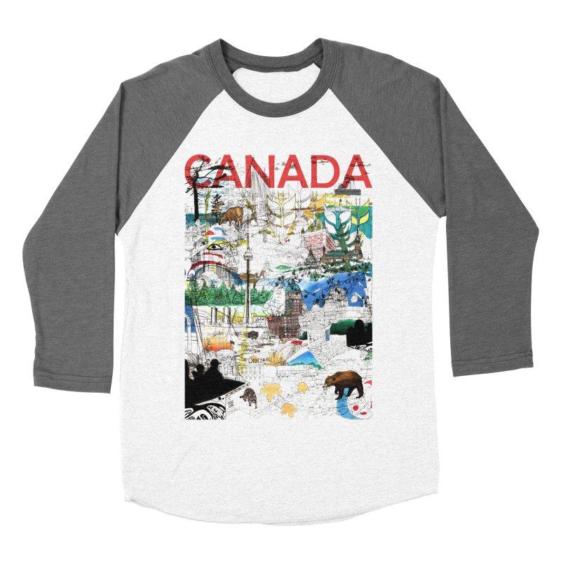 Canada Men's Baseball Triblend T-Shirt by David Bushell Illustration-Design Shop