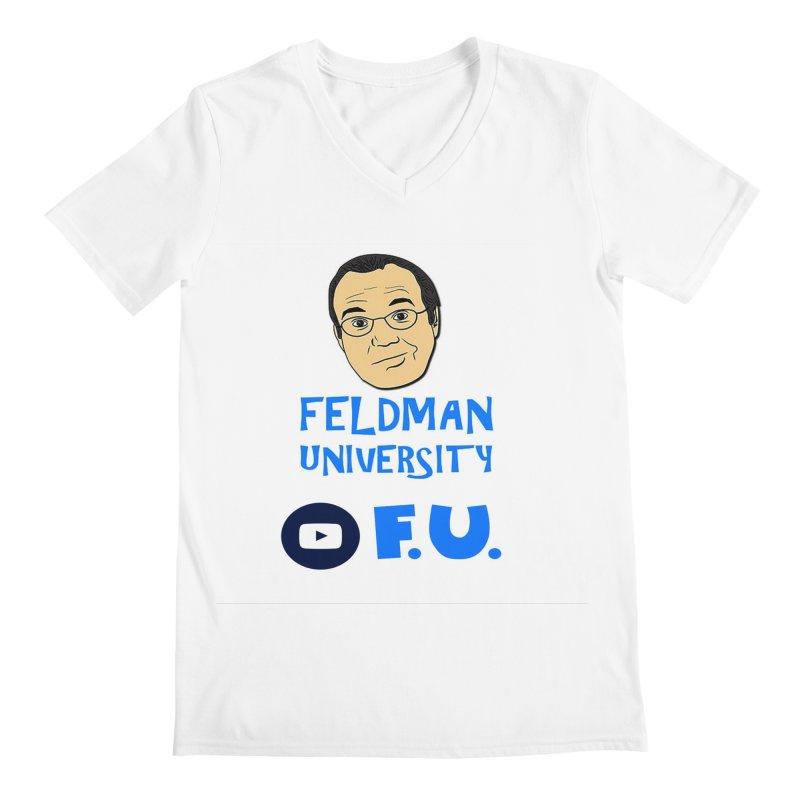 Feldman University in Men's Regular V-Neck White by The David Feldman Show Official Merch Store
