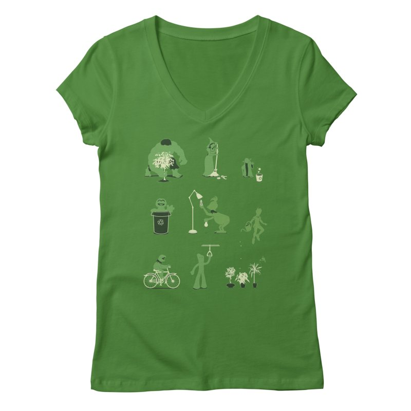 GOING GREEN Women's V-Neck by davidfromdallas's Artist Shop