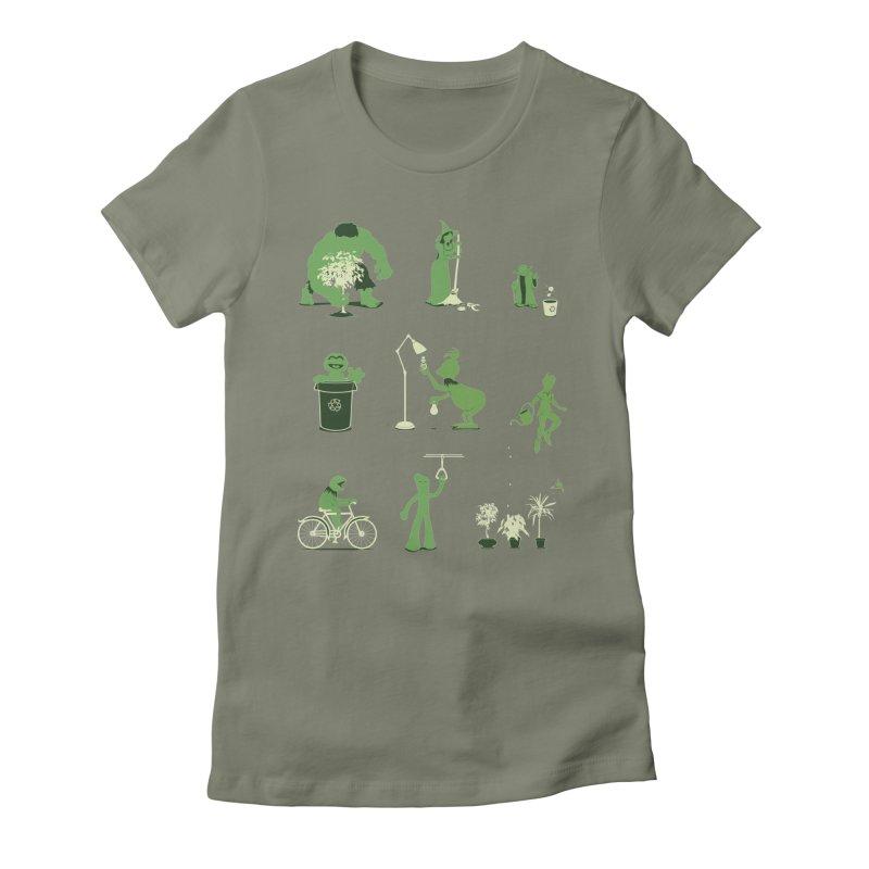 GOING GREEN Women's Fitted T-Shirt by davidfromdallas's Artist Shop