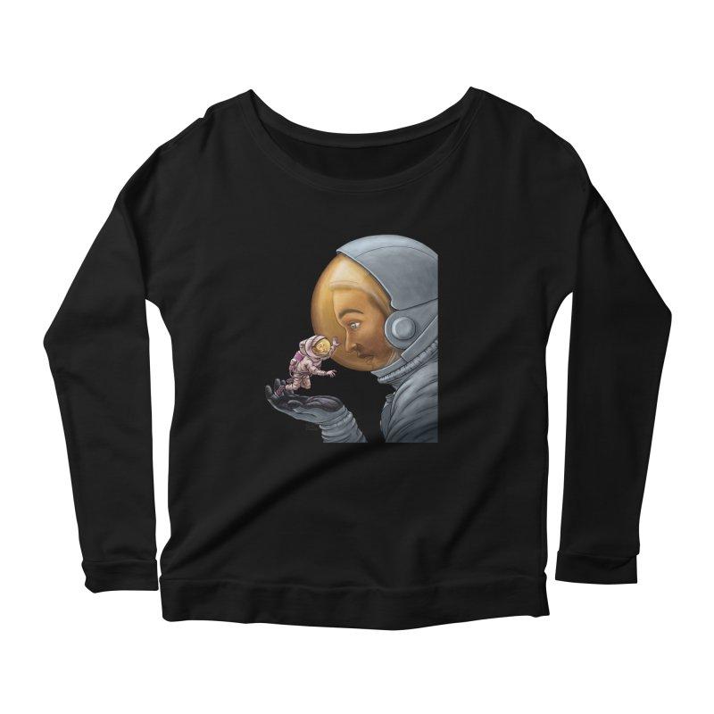 Out in the space Women's Scoop Neck Longsleeve T-Shirt by davidmacedoart's Artist Shop