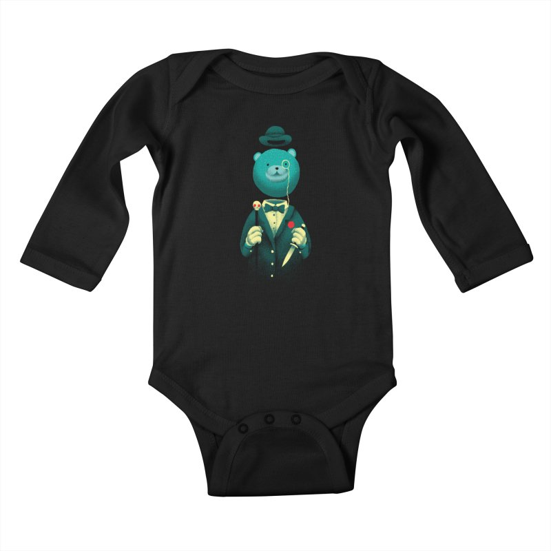 Bad Mr Bear Kids Baby Longsleeve Bodysuit by David Maclennan